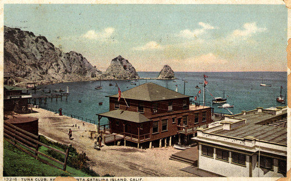 Vintage postcard of Catalina's original Tuna Club, built in 1908