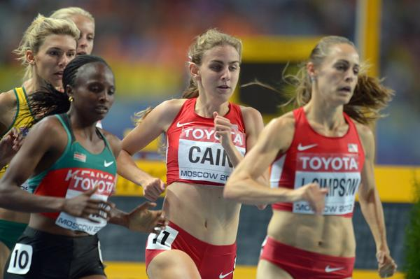 Mary Cain (2d from right) close behind silver medalist Jenny Simpson in the early stages of Thursday's 1,500-meter final at the World Championships in Moscow.