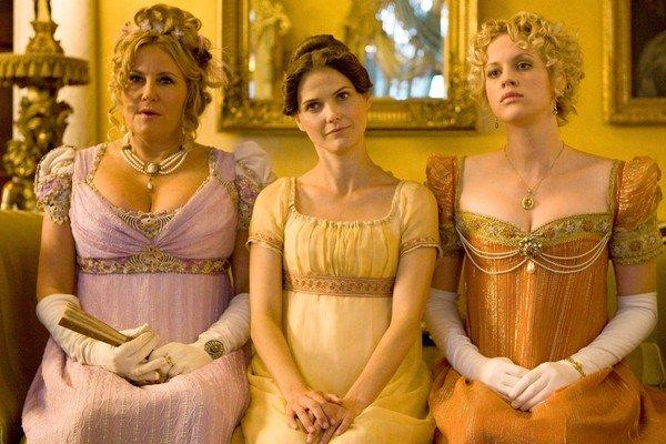 "Jennifer Coolidge, left, Keri Russell and Georgia King in ""Austenland."""