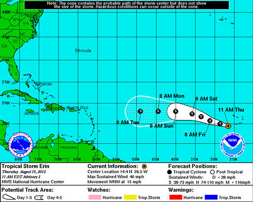 Tropical Storm Erin formed early Thursday in the Atlantic.