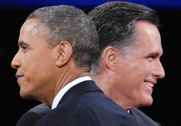 President Obama and Mitt Romney after the third and final presidential debate at Lynn University in Boca Raton, Fla., on Oct. 22, 2012.