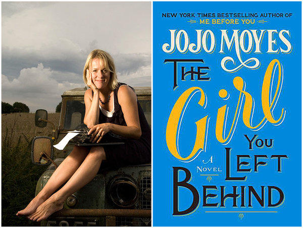 "Author Jojo Moyes and the cover of her book, ""The Girl You Left Behind."""