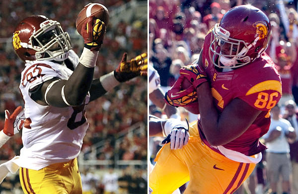 Randall Telfer (82) and Xavier Grimble (86) give USC a potent combination at tight end.