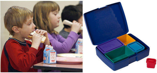 Packing lunch for children with dietary restrictions can require a lot of planning. At right, a lunchbox from Laptop Lunches.