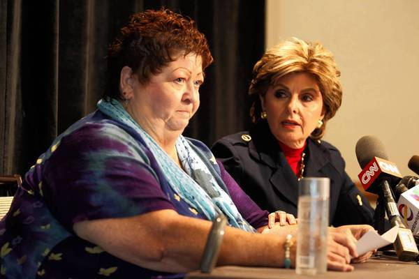 Peggy Shannon, 67, left, a part-time worker at San Diego City Hall, is shown with attorney Gloria Allred. Shannon says Mayor Bob Filner continually made sexually inappropriate comments to her about wanting to begin a personal relationship.