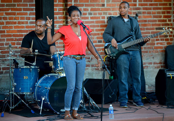 "ReFreshed Band performs Thursday during ""A Night of Jazz"" at University Plaza in downtown Hagerstown. From left are Carl Redman on drums, Shatyra Henry on vocals and Virgil Boysaw on bass."