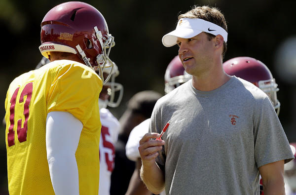 USC Coach Lane Kiffin talks to quarterback Max Wittek (13) during a practice earlier this month.