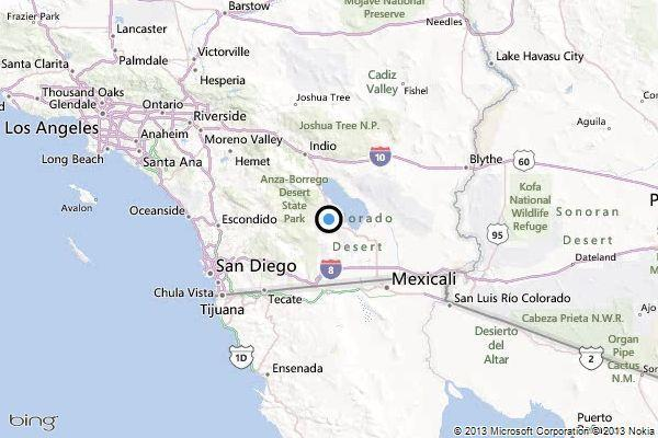 A map showing the location of the epicenter of Thursday evening's quake near Salton City, California.