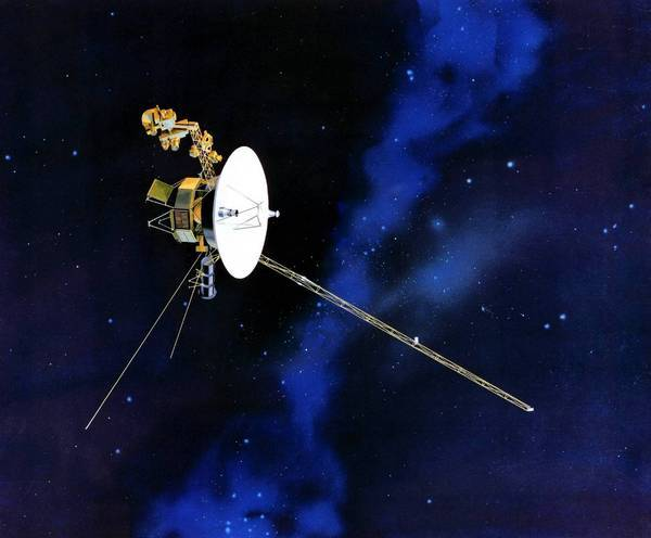 "An artist's depiction of a Voyager spacecraft. A study published Thursday in the Astrophysical Journal Letters argues that Voyager 1 exited the solar system's heliosphere more than a year ago and is ""truly beginning its travels through the Milky Way."""