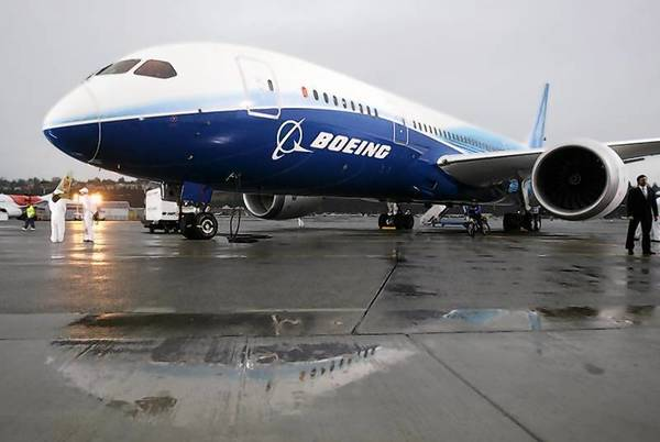 The Boeing 787 Dreamliner sits on the tarmac at Boeing Field in Seattle in 2009.