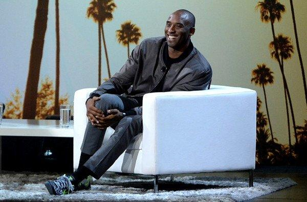 "Lakers All-Star guard Kobe Bryant shares a laugh with the audience during ""Kobe Up Close Hosted by Jimmy Kimmel"" on Thursday night at the Nokia Theatre."