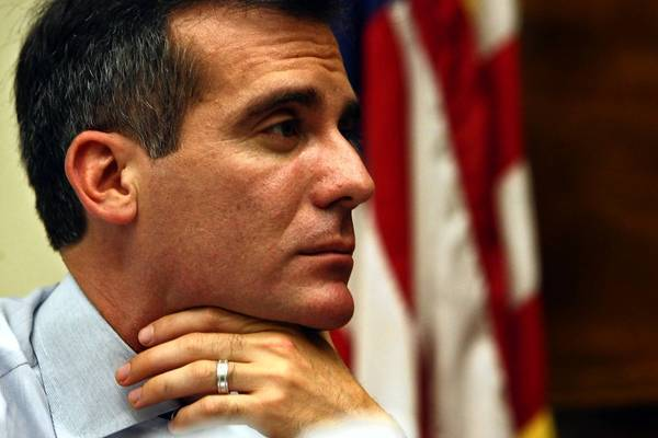 "L.A. Mayor Eric Garcetti says that a contract proposal for Department of Water and Power workers includes savings, but that he is rejecting it ""because it limits further DWP reforms, specifically to the department's costly and inefficient work rules."""