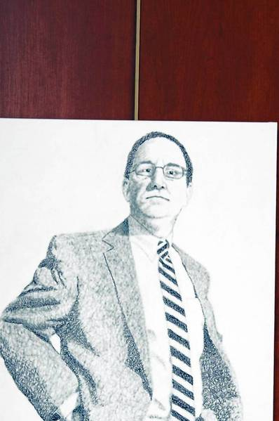 Self-portrait by Bethlehem Area School District Supt. Dr. Joseph Roy was created in collaboration with Liberty High School student Eric Johnson. The shading is composed of words and phrases related to Roy's job.