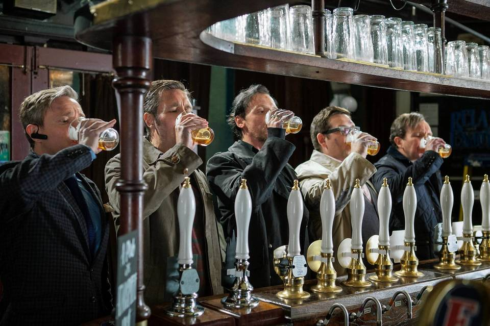 """(L to R) Martin Freeman as Oliver, Paddy Considine as Steven, Simon Pegg as Gary, Nick Frost as Andy, and Eddie Marsan as Peter in Edgar Wright's """"The World's End."""""""
