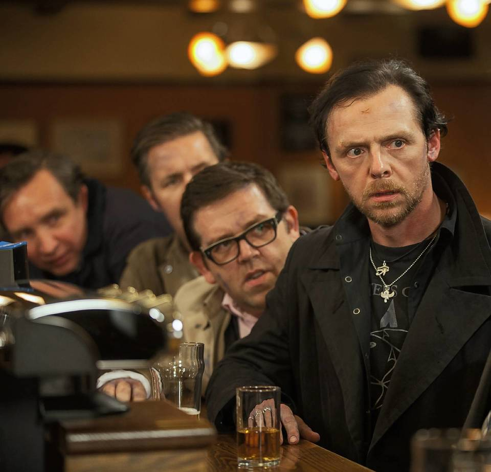 """(L to R)  Eddie Marsan as Peter, Paddy Considine as Steven, Nick Frost as Andy, and Simon Pegg as Gary in Edgar Wright's """"The World's End."""""""