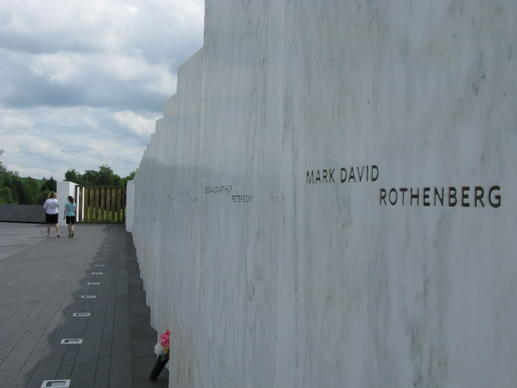 Each victim of the Flight 93 plane crash is memorialized on a wall o