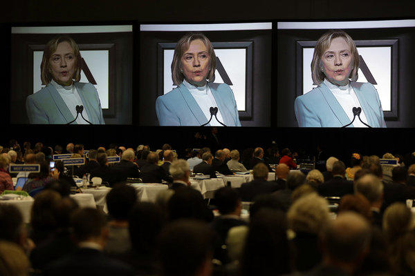 Delegates listen as former Secretary of State Hillary Clinton addresses the American Bar Assn. annual meeting in San Francisco.