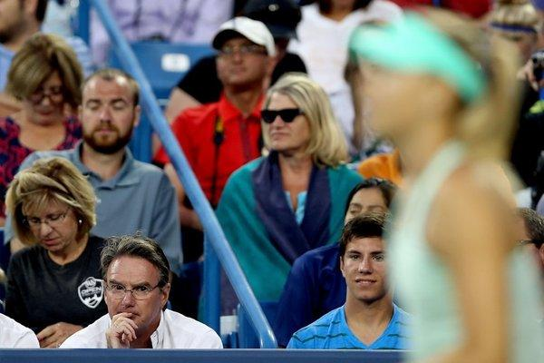 Jimmy Connors coaches Maria Sharapova as she plays Sloane Stephens.