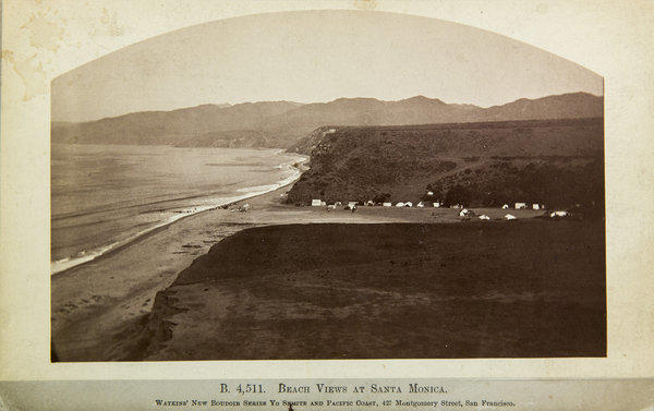 From the collection of Ernie Marquez, a Carleton Watkins photo from the early 1880s, looking north, with tents along Santa Monica canyon. The Marquez family allowed visitors to camp on the beach, which was part of their Rancho Boca de Santa Monica land grant, originally given to the Marquez family by the Mexican government in 1839.