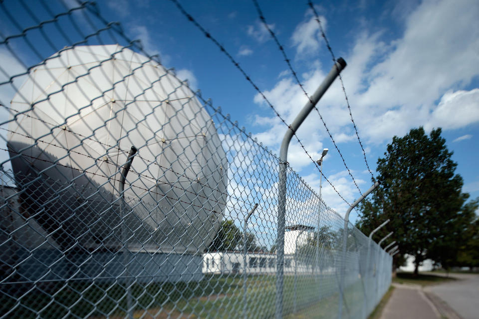 Radomes that contain radar antennas stand at an operating facility of the the main German foreign intelligence gathering agency, near Bad Aibling, Germany. The German government recently confirmed that the BND shares large amounts of its data with the NSA.