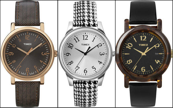 Three watches from the fall 2013 Timex women's watch collection, which was inspired by the patterns and textures of men's suiting fabrics and accessories.