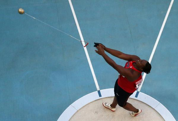 Jeneva McCall in Friday's hammer throw final at the World Championships in Moscow
