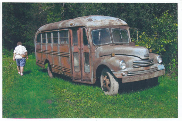 A rare Nash school bus as it was found on a Minnesota farm in 2010. The bus, one of two known to exist, is being restored to original condition at Vintage Motorcars in Westbrook.