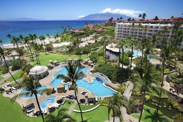 View of Fairmont Kea Lani's three pools and Polo Beach.