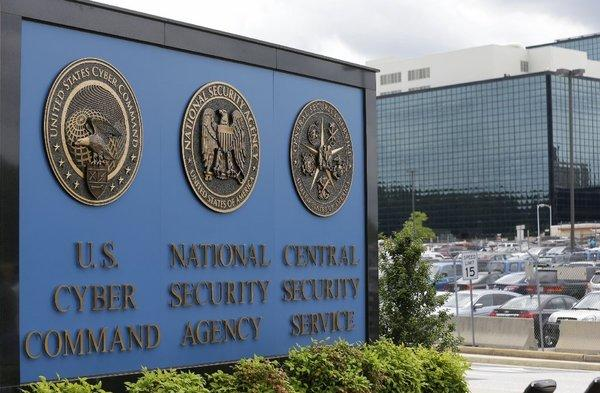 A sign outside the National Security Agency in Ft. Meade, Md.