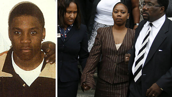 Aaron Harrison, left, was shot in the back by a Chicago police officer in 2007 and died. Jurors awarded his mother, Annie Johnson, center, seen here being escorted out of his funeral on August 15, 2007, and his family $8.5 million in the case.