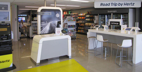 The new Hertz rental car outlet in San Diego offers travel items for sale and other extras.