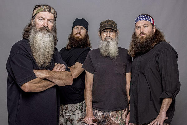 "From left, Phil Robertson, Jase Robertson, Si Robertson and Willie Robertson from A&E's ""Duck Dynasty."""