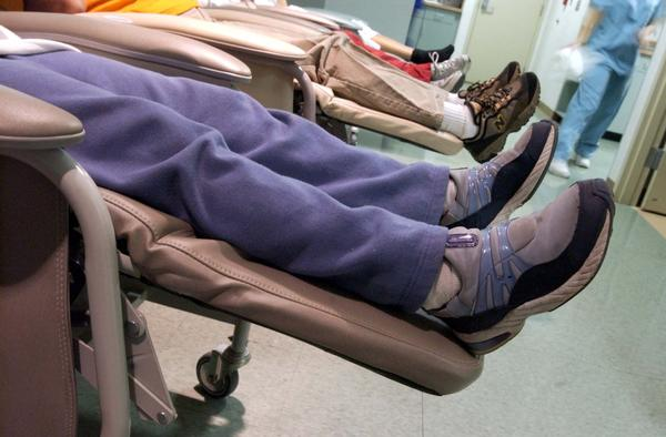 Women sit on recliners in the recovery room after having abortions at the Hope Clinic For Women in Granite City, Illinois.