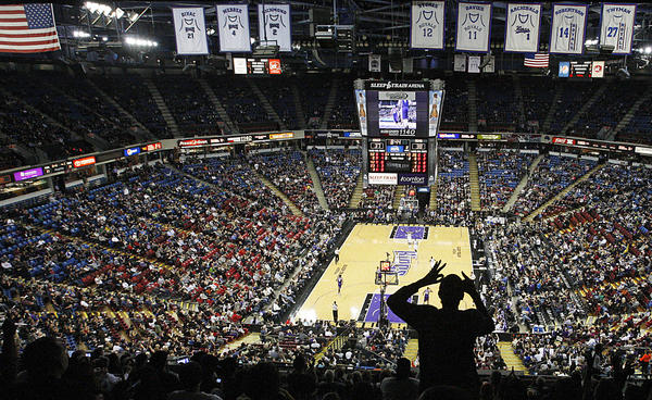 A fan cheers the Sacramento Kings during a home game against the Phoenix Suns at the Sleep Train Arena in January.