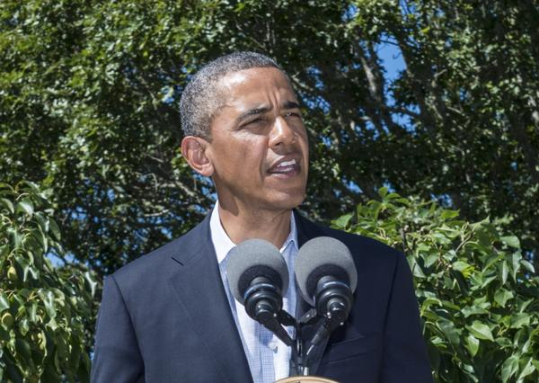 U.S. President Barack Obama delivers a statement on Egypt at his vacation home August 15, 2013 in Chilmark, Martha's Vineyard, Massachusetts. Obama condemned the violence that has left more than 500 people killed and over 3,700 wounded since Egyptian Police and Army forces entered protest sites in the Nasr City and Giza districts at dawn on August 14, using tear gas, live fire and bulldozers to disperse protesters and destroy the camps.