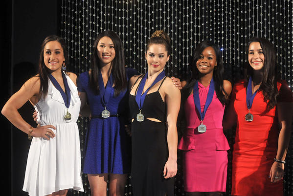 Members of the U.S. team that won the gold medal in women's gymnastics at the 2012 London Summer Olympics were inducted into the U.S. Gymnastics Hall of Fame Friday evening at The Society Room in Hartford. The event was in conjunction with the P&G Gymnastics Championships being held this week at the XL Center. Left to right: Jordyn Wieber, Kyla Ross, McKayla Maroney, Gabby Douglas and Aly Raisman.