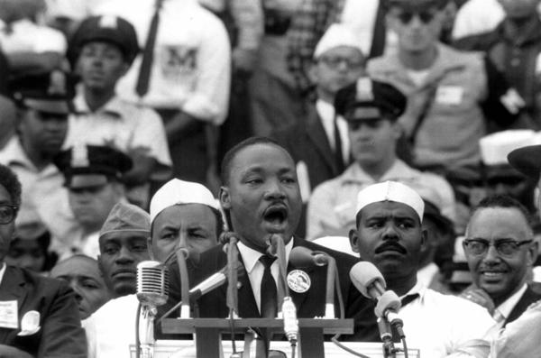 "The Rev. Martin Luther King Jr. gives his ""I have a dream"" speech from the Lincoln Memorial during the March on Washington on Aug. 28, 1963."