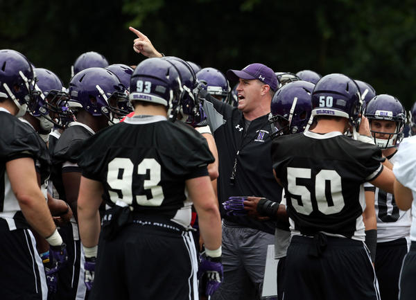 Northwestern coach Pat Fitzgerald with his players at the start practice on Aug. 5. (Nuccio DiNuzzo/Tribune Photo)