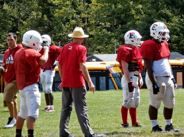 Pocono Mountain East football team practices with Frank Scagliotta, the former Bangor coach and team's new defensive coordinator.