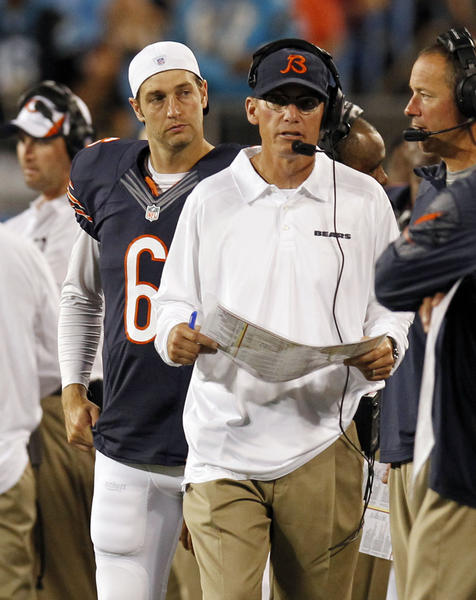 Bears coach Marc Trestman and Jay Cutler on the sideline against the Panthers on Aug. 9. (Brian Cassella/Tribune Photo)