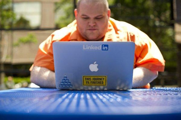 Greg Leffler, a site reliability engineer at LinkedIn, works outside his company's Mountain View, Calif., headquarters in May.