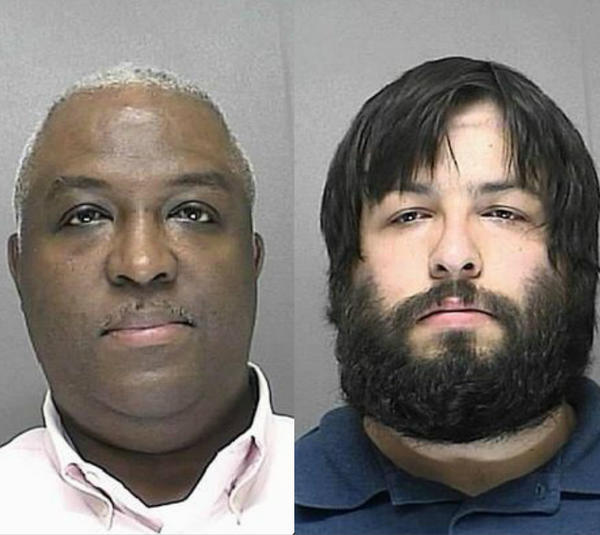 Donald Champagne, 49, left, the chief engineer for Enterprise Test Solutions at the Lockheed Martin Mission Systems office in Orlando, was arrested Friday. Also arrested was Austin Wilder, 24,