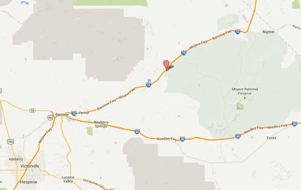 Map shows approximate location of where a pickup truck and tour bus collided on Interstate 15, near Zzyzx Road.