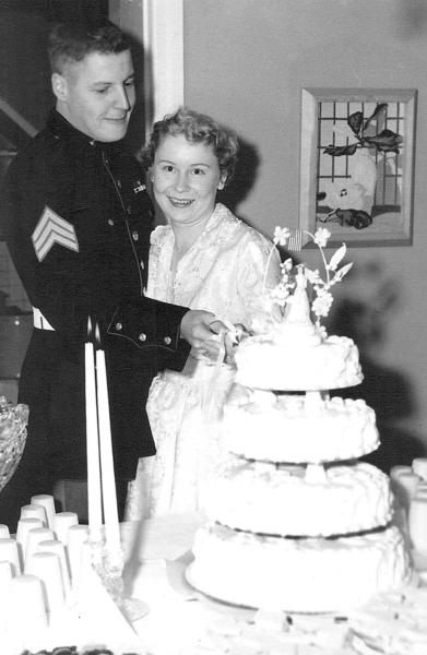 "Wayne and Dorothy ""Dottie"" Winebrenner cut the cake at their wedding on Oct. 30, 1954."