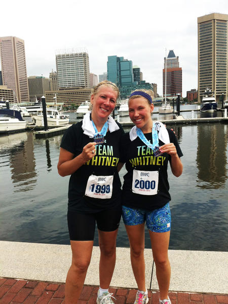 Whitney Sibol and her mother, Judy, are seen here after completing the Women's Classic 5K in June.
