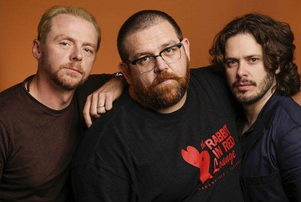 "Simon Pegg, left, Nick Frost and director Edgar Wright have reunited for the film comedy, ""The World's End,"" which has been winning strong early reviews."