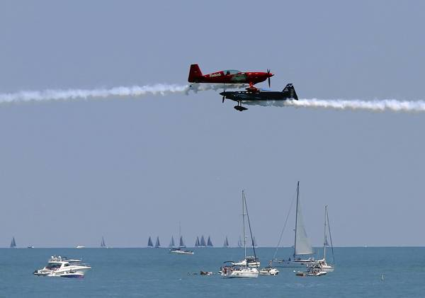 The Firebirds Delta Team performs above Lake Michigan during the Chicago Air and Water Show on Aug. 17.