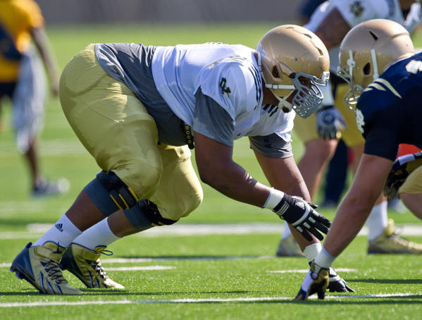 Irish defensive end Stephon Tuitt lines up during practice at the LaBar Practice Complex.