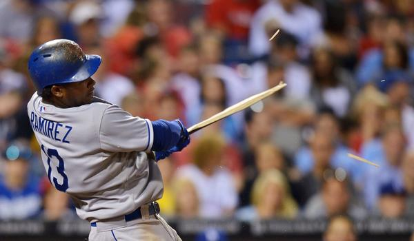 Dodgers shortstop Hanley Ramirez shatters his bat on a single during a win over the Philadelphia Phillies on Friday. Ramirez has played a vital role in the Dodgers' surge to the top of the NL West.