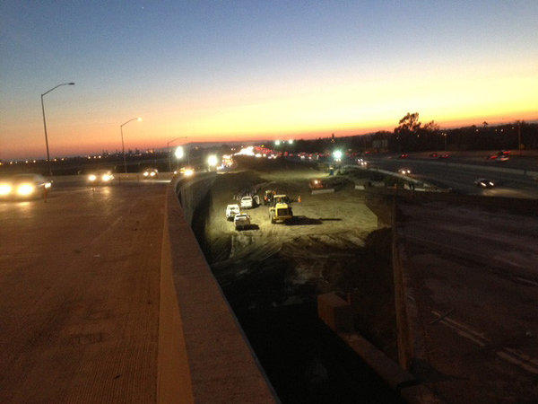 Demolition work is about to begin at the 22 and 405 freeways in Orange County. This is a view from the new 22 east connector to the 405.